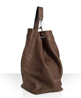 Brunello Cucinelli cognac leather shoulder duffle bag   up to