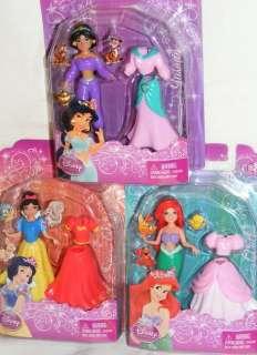 Disney Princess Dolls JASMINE + SNOW WHITE + ARIEL Polly Pocket Size