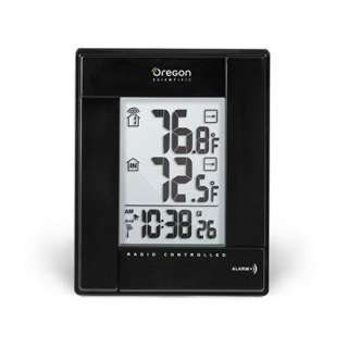 RMR382 B Wireless Indoor/Outdoor Thermometer with Atomic Clock, Black