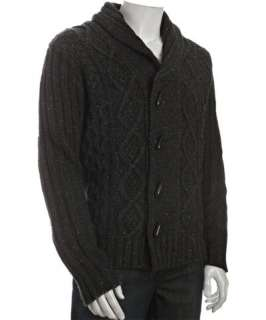 Projek Raw dark charcoal wool blend cable knit toggle cardigan sweater