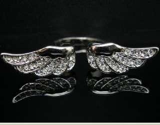 Angel Wing Ring GOLD GF Swarovski Crystal Size 8 R218