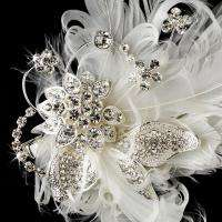 Crystal Floral Wedding Bridal Feather Fascinator Hair Comb pin 458s