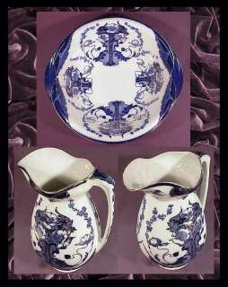 Minton  Flo Blue  Pitcher & Bowl Set c.1870s