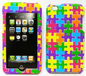 4TH GEN HARD Case Cover JIGSAW PUZZLE PIECES GREEN YELLOW PINK