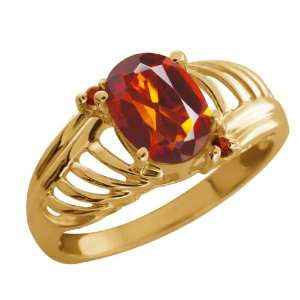 Orange Red Madeira Citrine Cognac Red Diamond Gold Plated Silver Ring