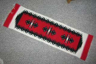 "BEAUTIFUL MEXICAN WOOL ZAPOTEC RUNNER RUG 38"" X 11"" 