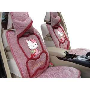 8pcs Pink Ice Kitty Auto Car Front Back Rear Seat Saddle Cover