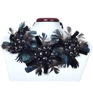 Bird Feather Black Crystal Rhinestone Ribbon Bib Necklace Jewelry