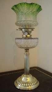 ANTIQUE VICTORIAN HINKS EMERALD GREEN GLASS COLUMN OIL LAMP