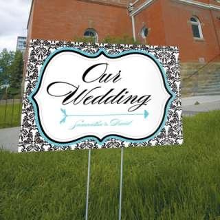 Wedding Personalized Reception, Ceremony LOVE BIRD DAMASK Directional