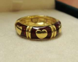 Hildalgo 18k Y Gold Red Enamel Heart Wide Band Ring